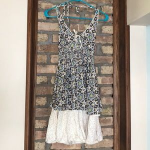 Boho halter top babydoll dress